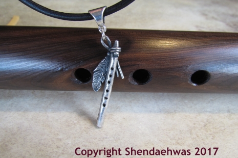 Native American Indian flute pendant in sterling silver, original creation by Sh