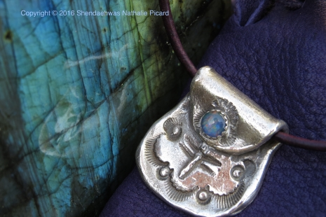 Dragonfly's medecine bag pendant with opal by Shendaehwas.
