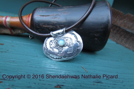 Bison fine silver medicine bag pendant with opal by Shendaehwas