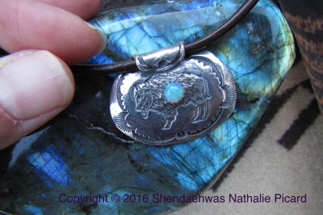 Buffalo fine silver pendant with opal by Shendaehwas