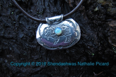 Bison fine silver pendant with opal by Shendaehwas