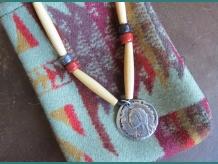 Onhweonhwe, Native American Indian portrait on sterling silver pendant by Shenda