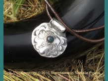 Buffalo pendant in fine silver with Ethiopian opal by Shendaehwas