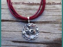 Strong  little heart of joy & vibrating beauty, fine silver pendant + opal penda